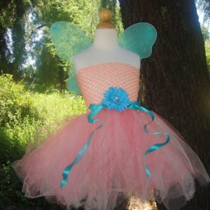 CORAL FAIRY - Infant or Toddler Coral Pink and Turquoise Tutu Dress Costume Set