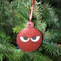 Angry Embroidered Christmas Ornament or Bag Tag